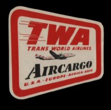 Collectible Rare Airline label luggage labels TWA  #261